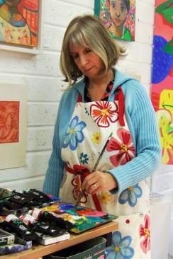 Marja van Kampen in her studio