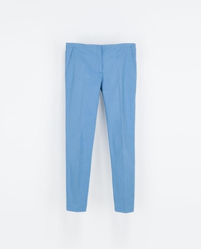 Blue crop trousers from Zara