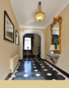 Hallway in the 1840's period house, Paint colour: Farrow & Ball, Savage Ground